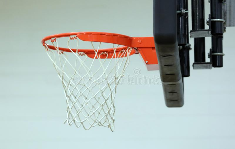 New basketball hoop at kids sports center. During game royalty free stock image