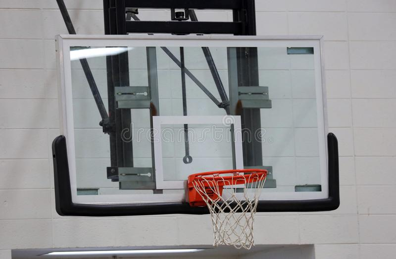 New basketball hoop at kids sports center. During game royalty free stock photography