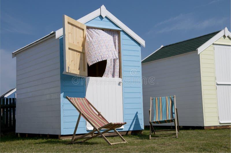 New Beach Huts at Southwold, Suffolk, England. stock photos