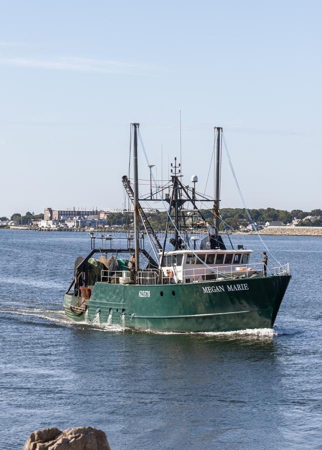 Freezer trawler Megan Marie coming into New Bedford royalty free stock photography