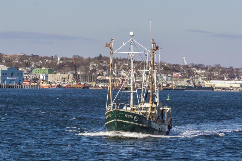 Trawler Seven Seas leaving New Bedford stock photography