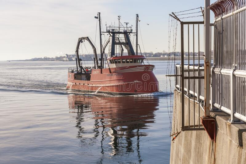 New scalloper Viking Power homebound after first fishing trip royalty free stock photos