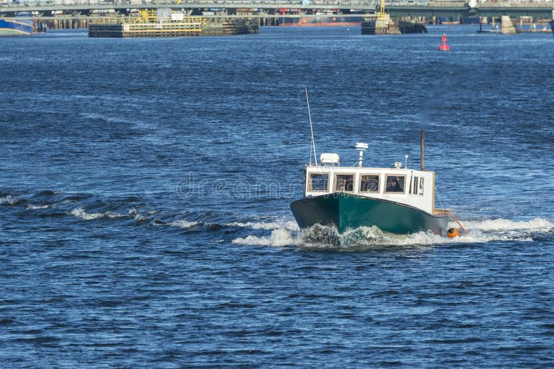 Small fishing boat New Bedford harbor stock photography