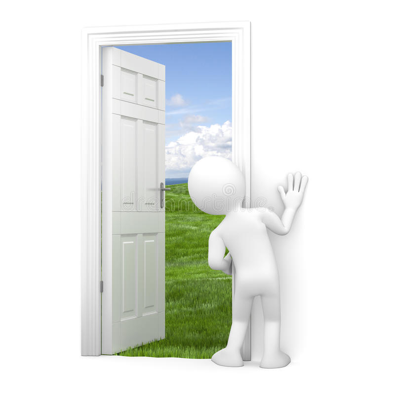 New beginning. Man looking through a door, fearful and hesitant