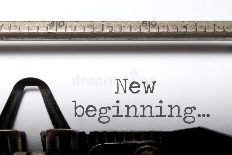 New beginning. Printed on an old typewriter royalty free stock photos