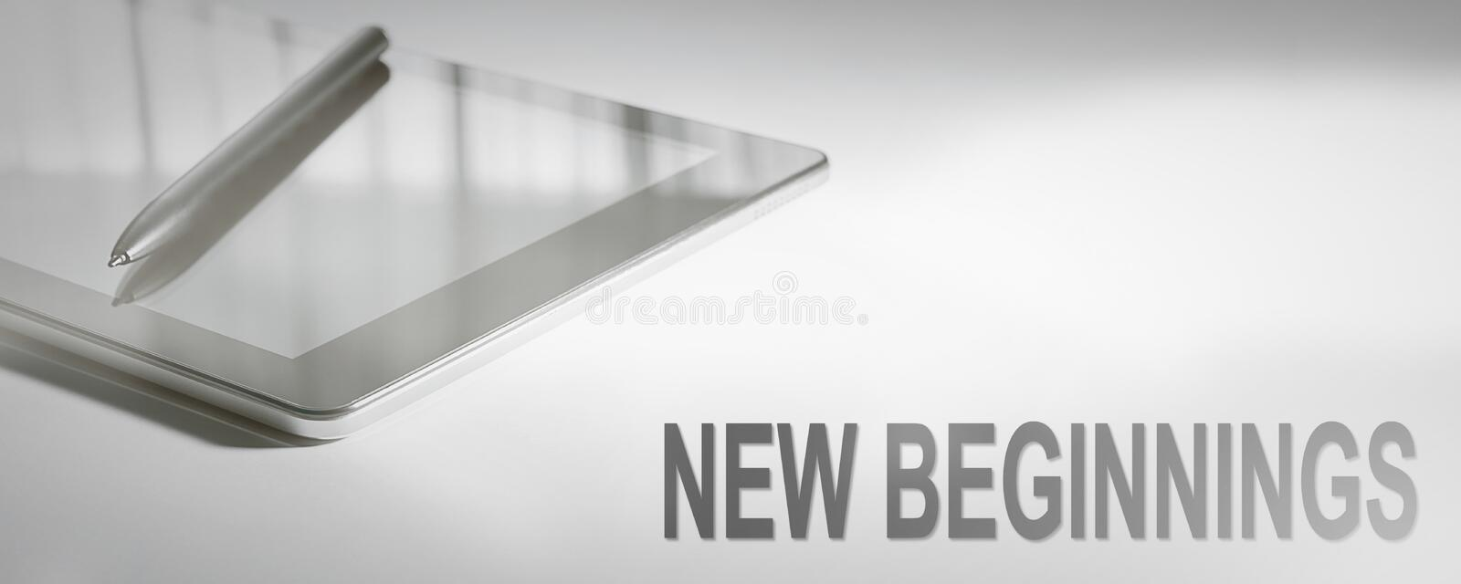 NEW BEGINNINGS Business Concept Digital Technology. Graphic Concept. Business Concept royalty free stock photography