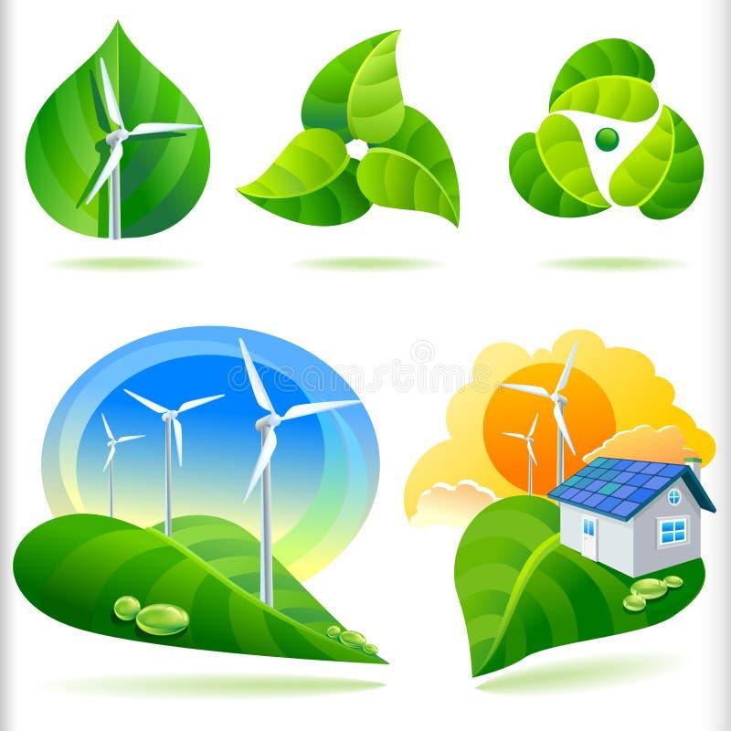 NEW- BIO GREEN ENERGY ICONS royalty free illustration