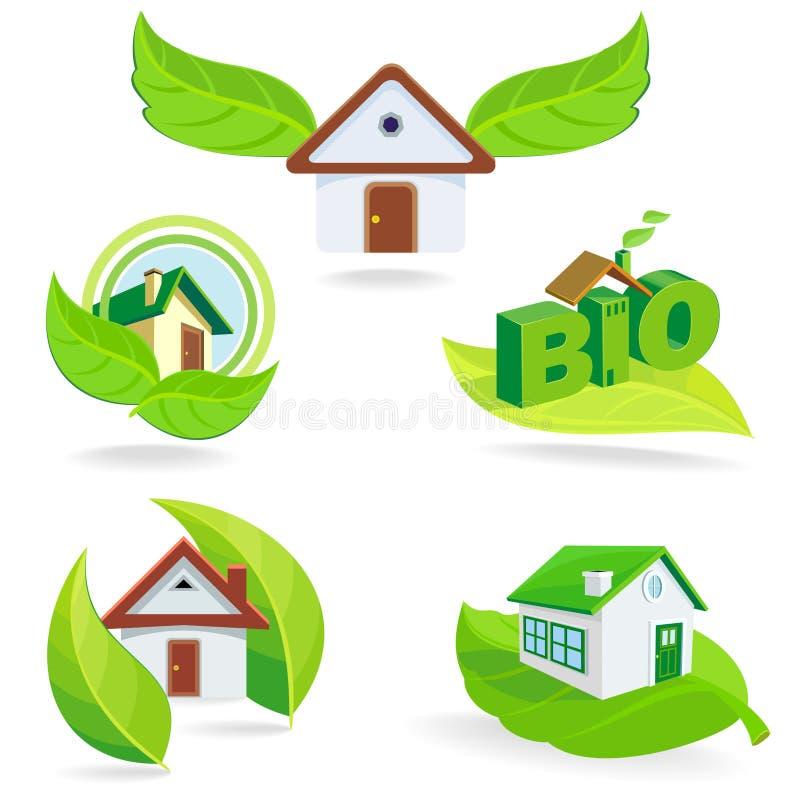 New - BIO Green House ICONs And Symbols Stock Photo
