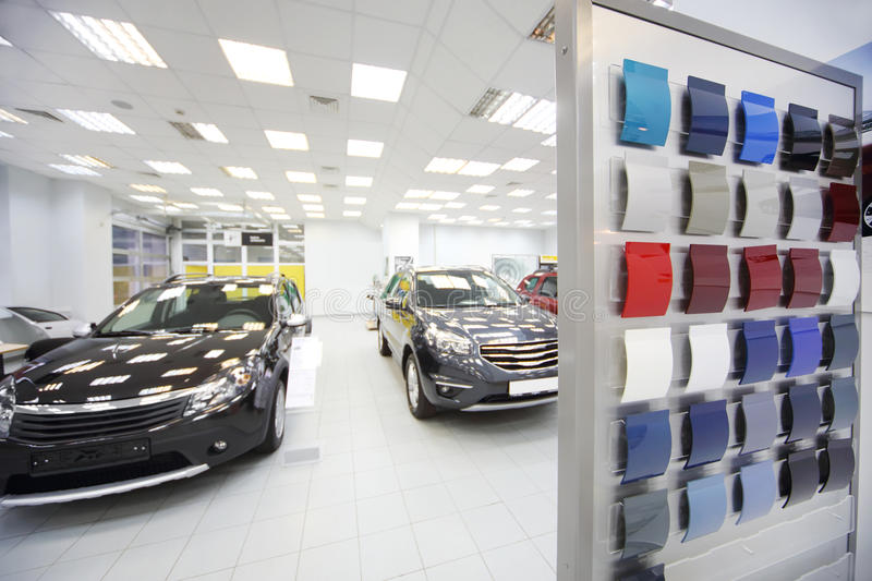 New black cars stand in car shop stock image image 33336531 for Car paint shop