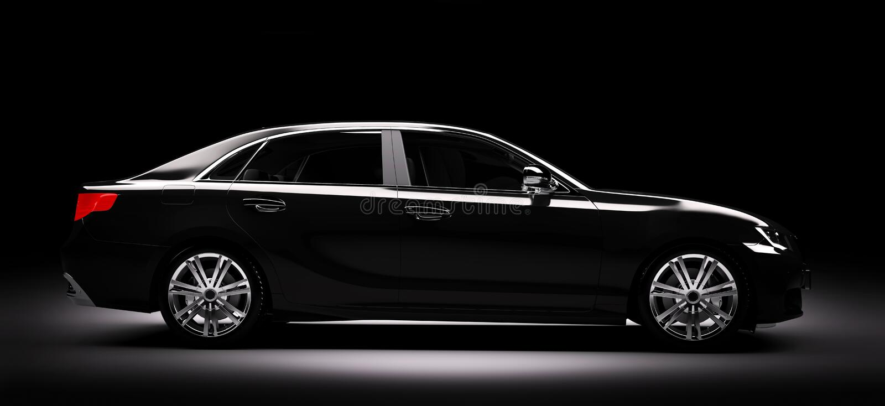 New black metallic sedan car in spotlight. Modern desing, brandless. vector illustration