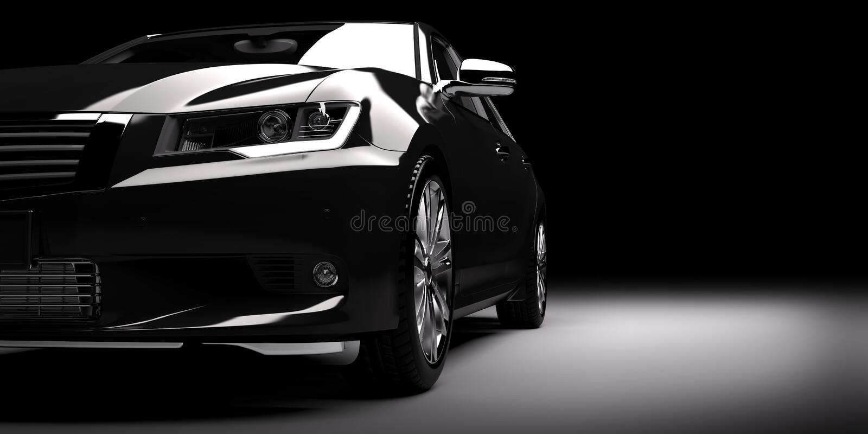 New black metallic sedan car in spotlight. Modern desing, brandless. stock photos
