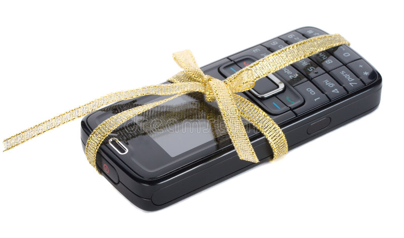Download New Black Mobile Phone With Gold Ribbon Stock Photo - Image: 7139962