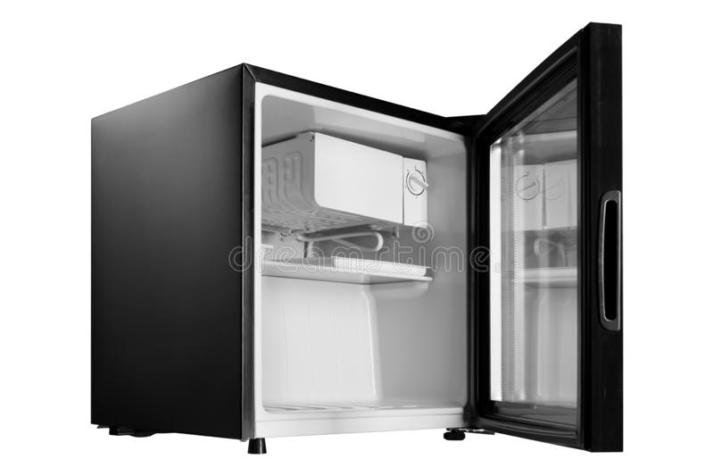 New black refrigerator with an open glass door, mini bar for the hotel, side view, on a white background stock images