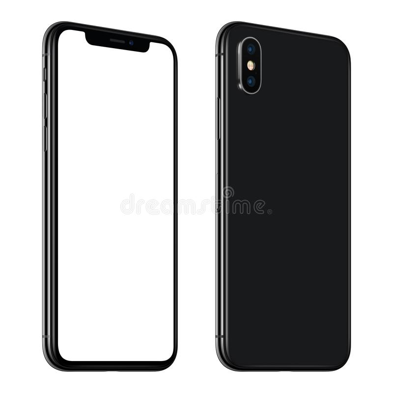 New black smartphone similar to iPhone X mockup front and back sides CCW rotated isolated on white background royalty free stock photography