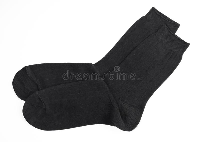New black socks, isolate. New black wool socks, isolate stock image