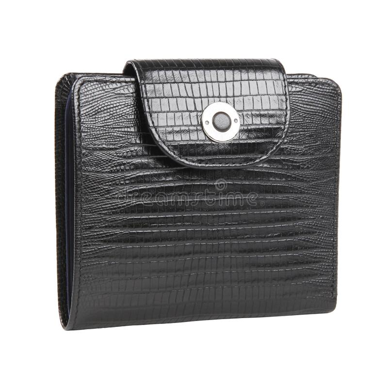 New black wallet of reptile skin leather isolated stock photo