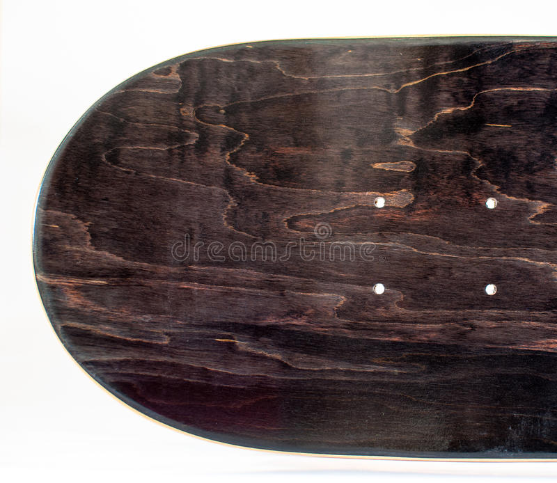 New blank wooden skateboard deck stock photo