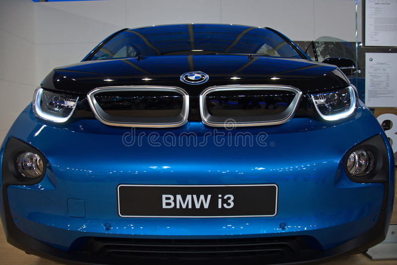 New blue BMW i3 model at the Belgrade Motor Show royalty free stock photo