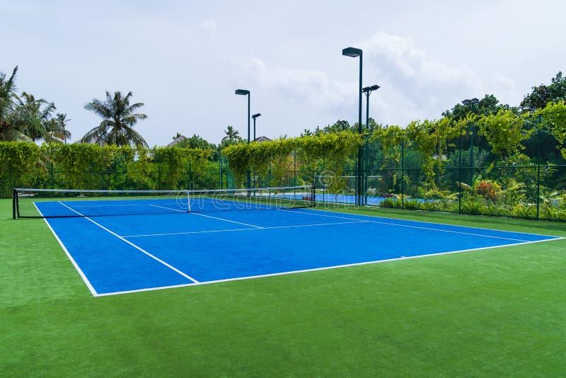 New blue tennis field. stock image
