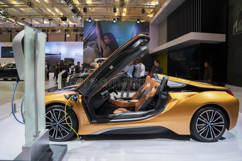 New BMW i8 Roadster car at GIIAS 2018. Tangerang - Indonesia. August 14, 2018: Side view of new BMW i8 Roadster car at Gaikindo Indonesia International Auto Show stock photo