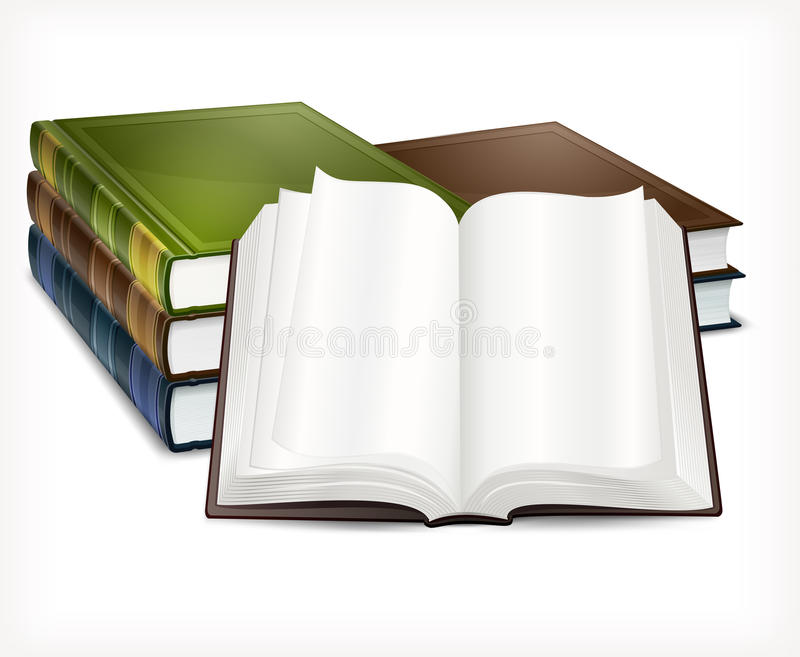 New books open on white vector illustration