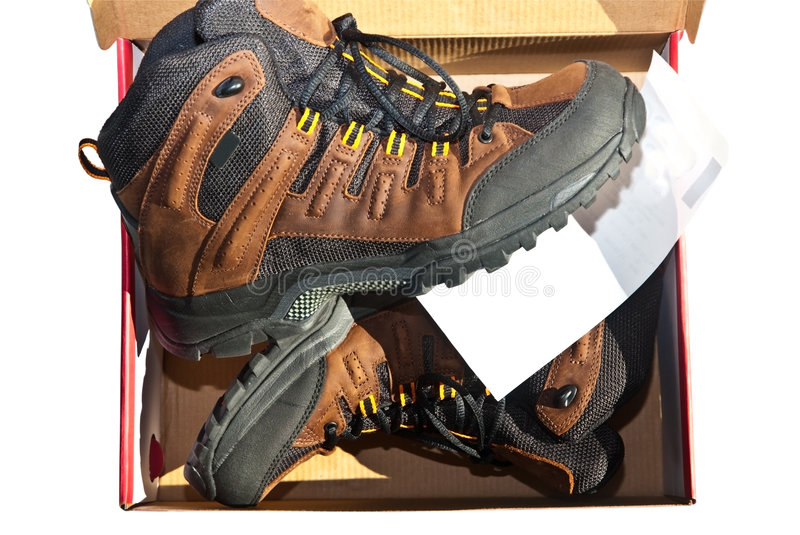 New Boots/Box/Sales Ticket royalty free stock image