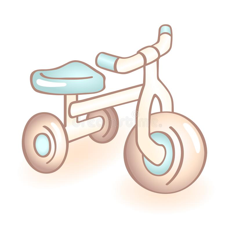 New born baby bike with three wheels, tricycle with blue details. Infant vector icon. Child item. royalty free illustration