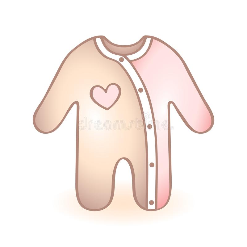 New born baby clothes, rompers with blue bear shaped decoration. Infant vector icon. Child item. stock illustration
