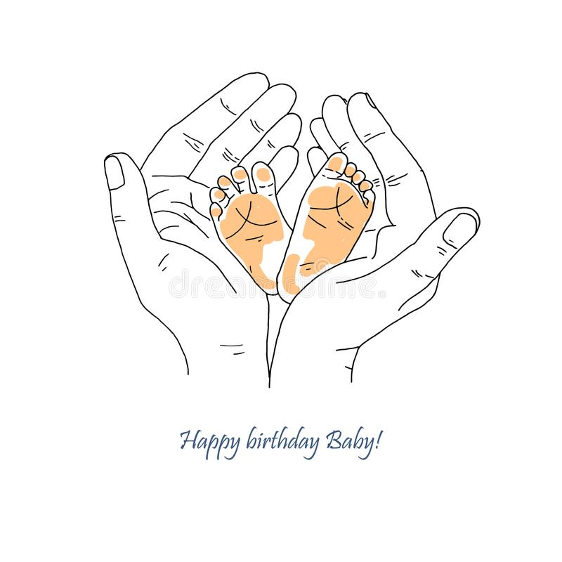 New born baby feet in mother hands vector illustration