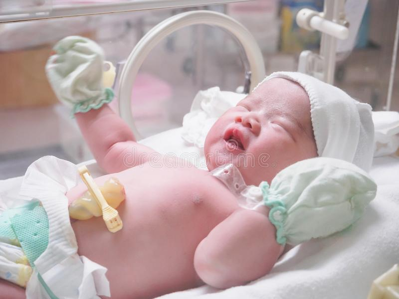 New born baby infant sleep in the incubator at hospital. Post delivery room royalty free stock images