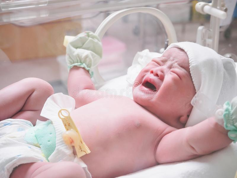 New born baby infant sleep in the incubator at hospital. Room stock image