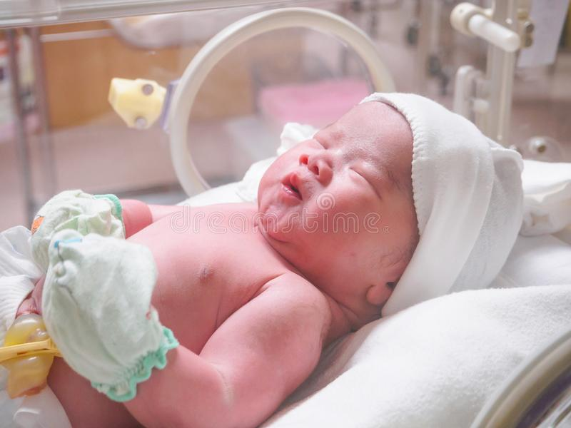 New born baby infant sleep in the incubator at hospital. Room stock photography