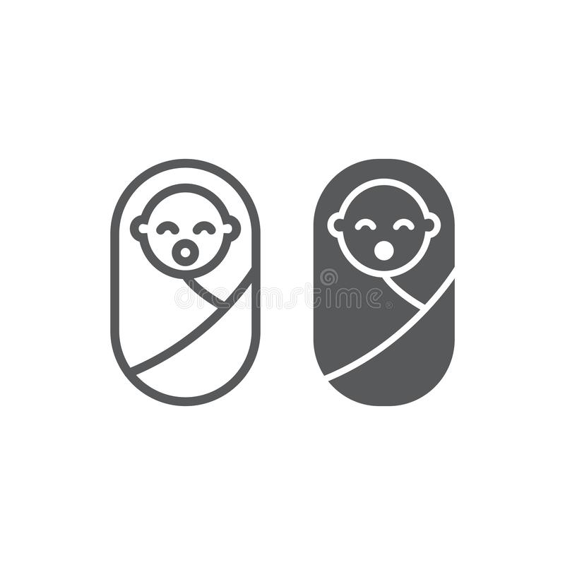 New born baby line and glyph icon, child and newborn, toddler sign, vector graphics, a linear pattern vector illustration