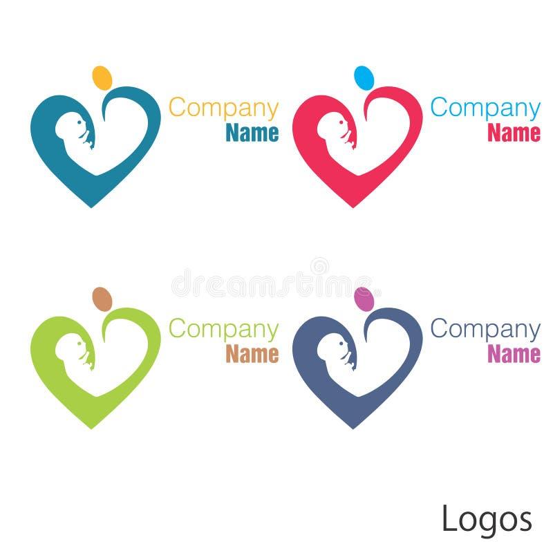 New born baby logo heart stock illustration