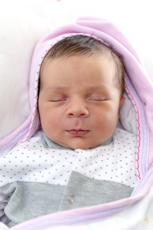New Born Baby Sleeping stock photo