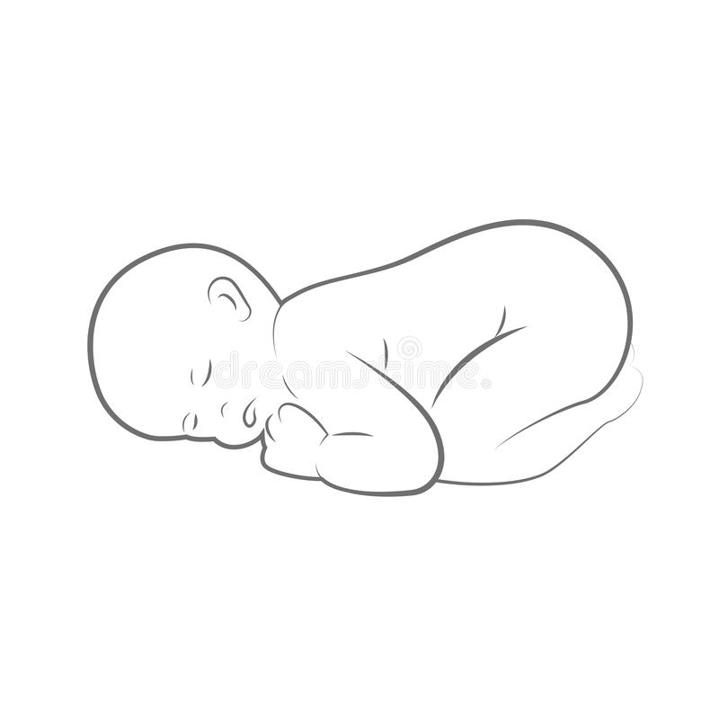 New born baby is sleeping line drawing outlline vector illustration