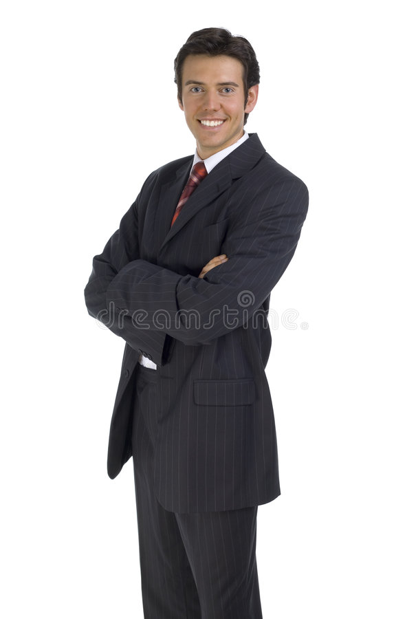 The new boss. Smiling, handsome businessman. Isolated on white in studio. Looking at camera stock photo