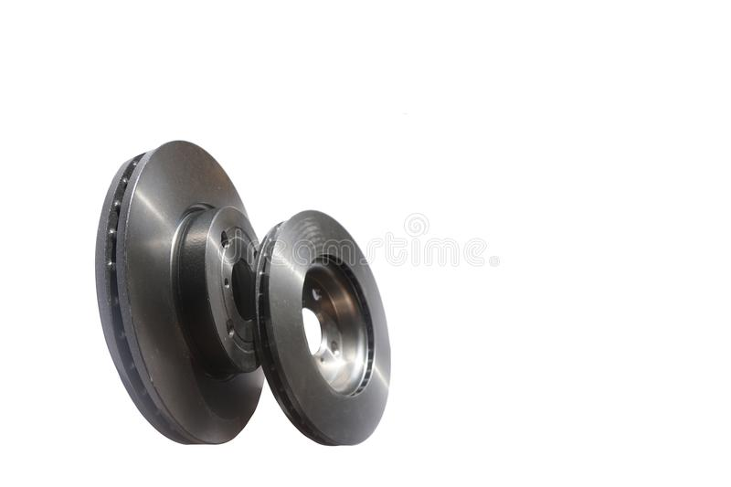 New Brake disc isolated on white for cars . trasportation concept. royalty free stock image