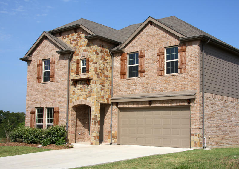 Download A New Two Floors Brick House In Suburban Stock Image - Image: 25752259