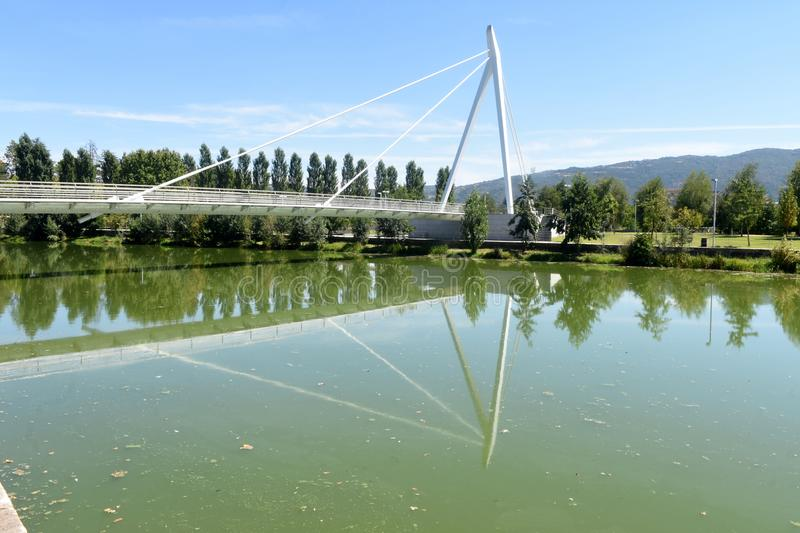 Bridge of Chaves,. New bridge of Chaves, Portugal stock images