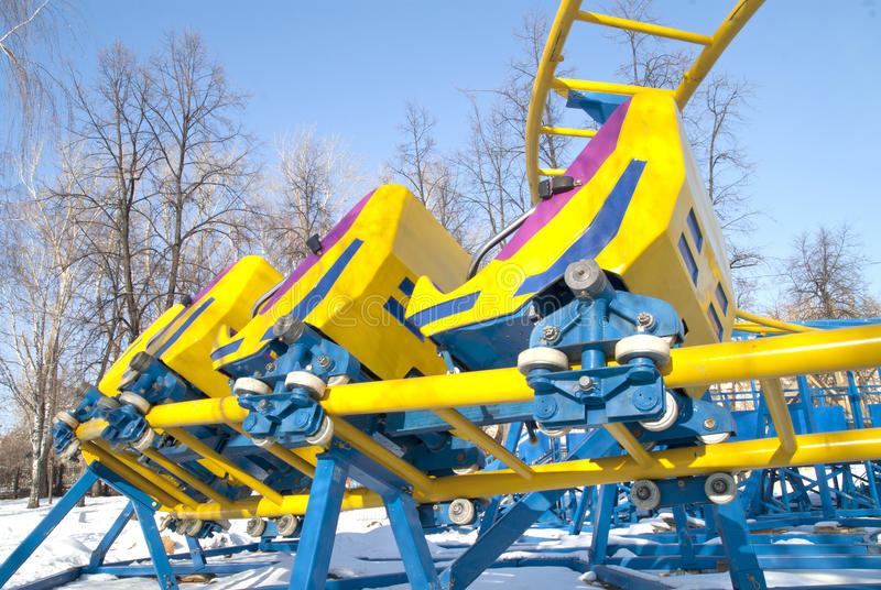 New Bright Roller Coaster In Winter Park Royalty Free Stock Image