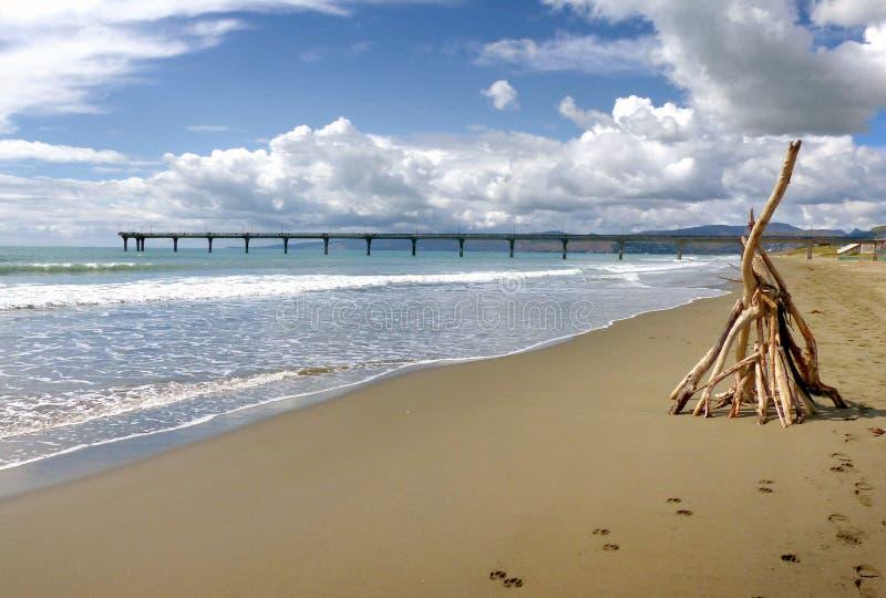 New Brighton Beach Christchurch NZ royalty free stock images