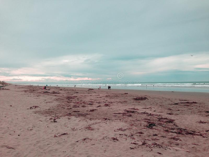 New Brighton beach at sunset, Canterbury, South Island, New Zealand.  royalty free stock images