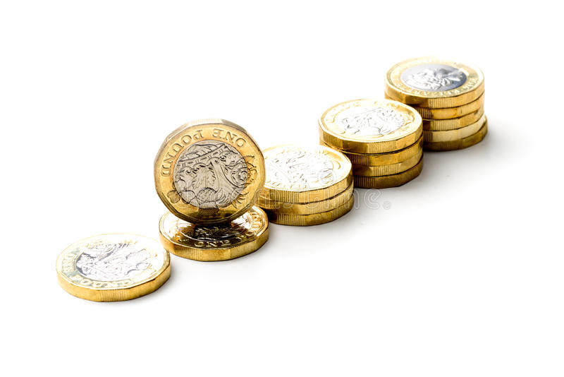 New British One Pound Sterling Coin Chart Rate stock photos