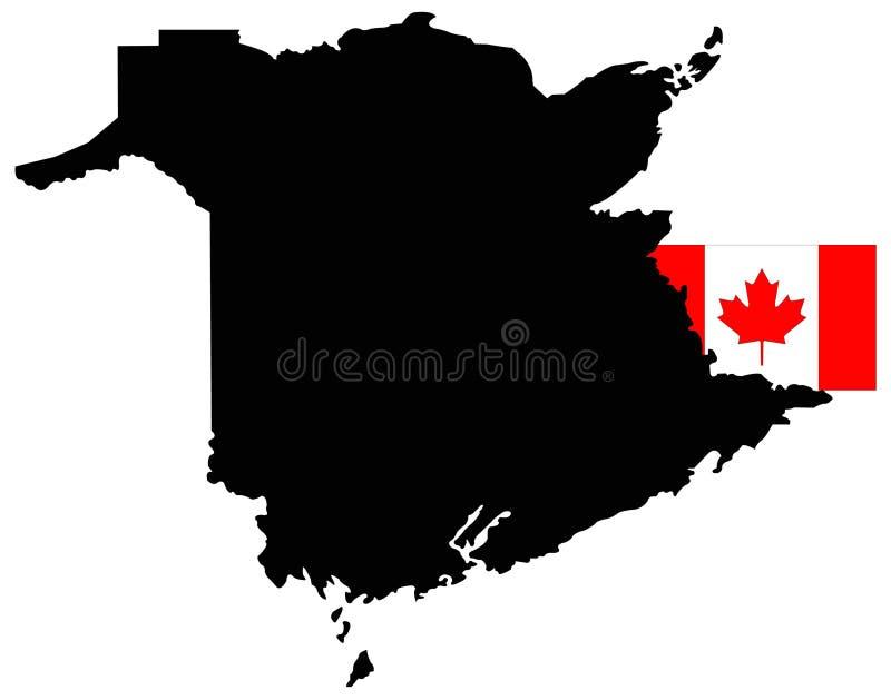 New Brunswick översikt med kanadensisk flagga - ett av fyra atlantiska landskap på ostkusten av Kanada vektor illustrationer