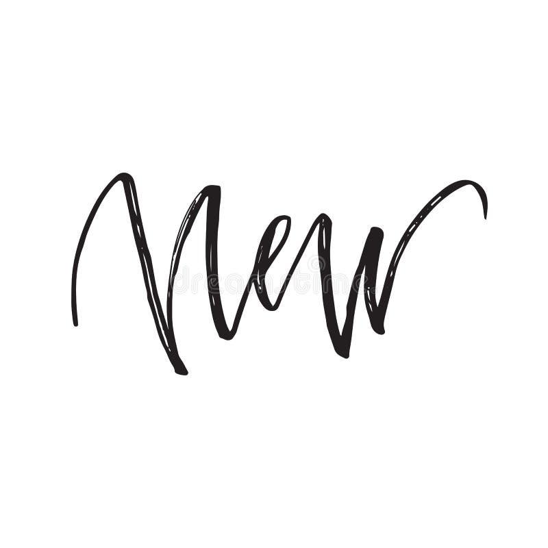 New brush pen handwritten text lettering, vector illustration. Design royalty free illustration