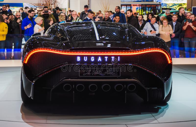 New Bugatti Veyron back side. Exhibition Center in Geneva in 2019 stock images