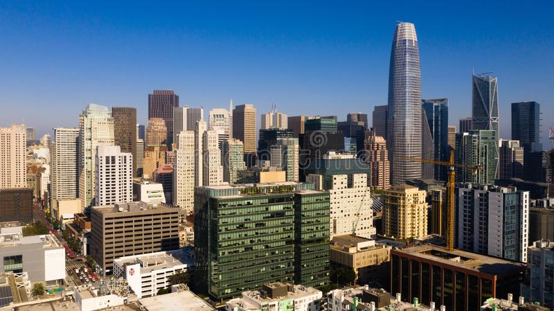 Aerial View Inner Downtown Core Urban Center San Francisco Metro royalty free stock images