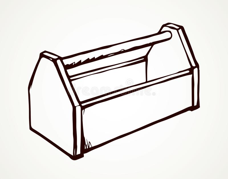 Tool box. Vector drawing. New build hardware set holder object on white backdrop. Freehand outline black ink hand drawn help logo emblem. Pictogram feed trough stock illustration