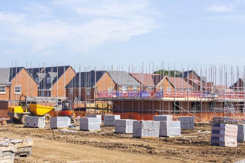 New build houses building construction site, Cheshire, England,. New build houses under construction in Cheshire, England, United Kingdom stock images